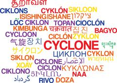 Cyclone multilanguage wordcloud background concept Stock Illustration