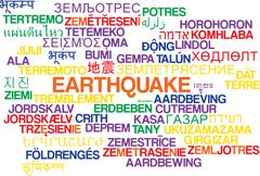 Earthquake multilanguage wordcloud background concept - stock illustration