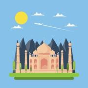 Flat design of Taj Mahal Stock Illustration
