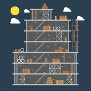 Flat design of construction site - stock illustration