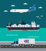 Flat design of cargo transportation sea air land Stock Illustration