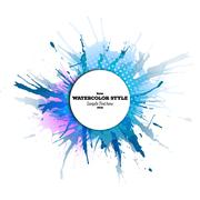 Abstract circle white banner with place for text and watercolor stains. Colorful Stock Illustration
