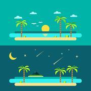 Flat design of summer paradise beach Stock Illustration