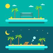 Flat design of summer paradise beach - stock illustration