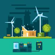 Eco house in urban scene with green energy Stock Illustration