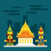 Thailand temple with two giants guarding Stock Illustration