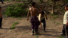 Honduran children playing soccer - stock footage