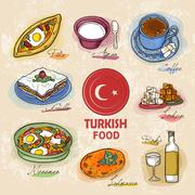 Turkish delicacy dishes Stock Illustration
