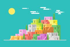 Slum cityscape urban scene flat design Stock Illustration