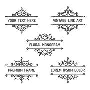 Vintage floral line art frame Stock Illustration