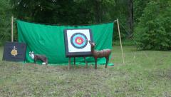 archery target and animals sculpture in park - stock footage