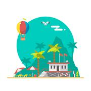 Flat design of beach guard tower on a beach Stock Illustration