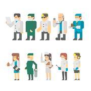 Flat design of medical worker set illustration vector Stock Illustration