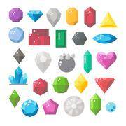 Flat design of gemstones set - stock illustration