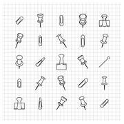 Icons clip of thin lines,  illustration. Stock Illustration