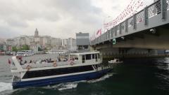 Stock Video Footage of Istanbul city, boat pass under Galata Bridge