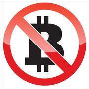 Bitcoin forbidden icon - stock illustration