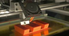 Accurate 3D printing of letter E - stock footage