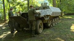 WWII German Half Track Repair Stock Footage