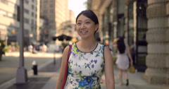 Young Asian woman walking smiling happy face Stock Footage