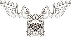 Pattern tattoo moose - stock illustration