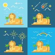 Flat design 4 styles of Sphinx of Giza Egypt Stock Illustration
