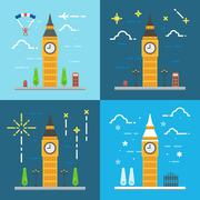 Flat design 4 styles of Big ben clock tower London United Kingdom - stock illustration