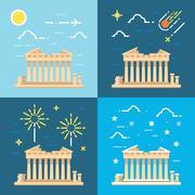 Stock Illustration of Flat design 4 styles of Parthenon Athens Greece