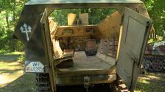 WWII German Half Track interior 2 Stock Footage