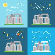 Flat design of Stonehenge UK - stock illustration
