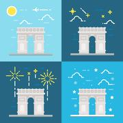 Flat design of Arc de Triomphe France Stock Illustration
