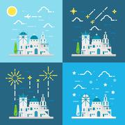 Flat design 4 styles of Santorini village Greece - stock illustration