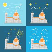 Flat design of cathedral of Florence Italy Stock Illustration