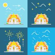 Flat design 4 style of Thai temple Thailand Stock Illustration