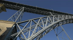 The metal structure of Dom Luis Brigde in Porto - stock footage