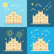 Flat design 4 styles of Duomo di Milano Italy Stock Illustration
