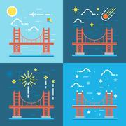 Flat design of Golden gate illustration vector Stock Illustration