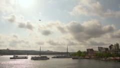 Istanbul City, cloudy day on sea, marine traffic, time lapse Stock Footage