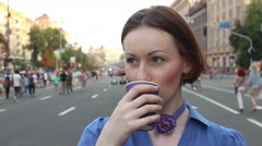 Girl drinks cofee Stock Footage