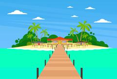Tropical Island Long Pier Summer Vacation Paradise Ocean - stock illustration