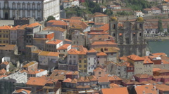 Porto cityscape with old buildings and churches Stock Footage