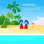 Summer Beach Flip-flops Sand Hawaii Card Tropical Vacation - stock illustration