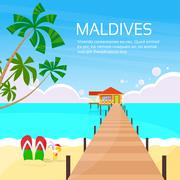 Maldives Tropical Island Long Pier Summer Vacation Paradise - stock illustration