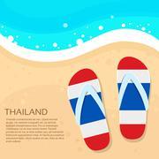 Thailand Flip-flops Summer Beach Sand Flag Color Card Vacation - stock illustration