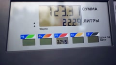Benzine meter car at gas russian station Stock Footage
