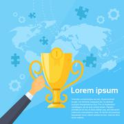 Winner Cup First 1 Place World Map Flat Vector - stock illustration