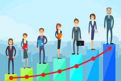 Business People Standing Financial Bar Graph - stock illustration