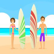 Stock Illustration of Surfer Couple Man and Woman with Surfing Board