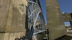 The beautiful metal arch bridge, Dom Luis in Porto Stock Footage