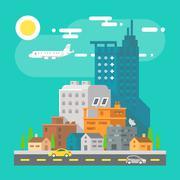 Colorful cityscape scene in flat design Stock Illustration